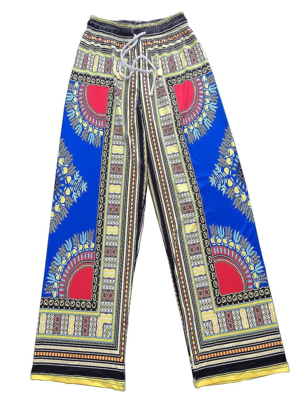 78a3b57c8bd Womens Dashiki Drawstring Waist Trousers Bohemian Wide leg Lounge Pants  Blue L  Amazon.ca  Clothing   Accessories