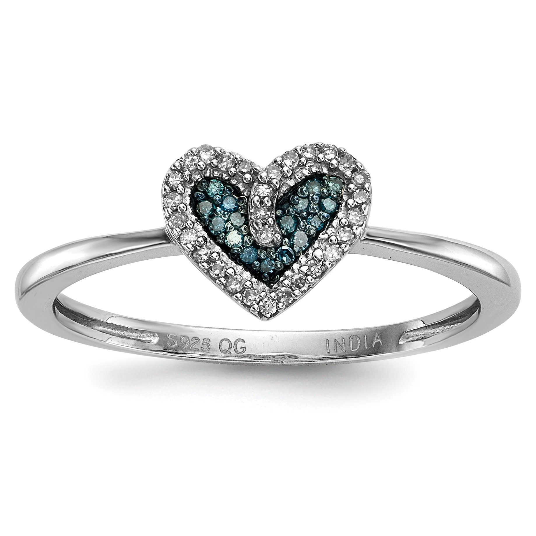 ICE CARATS 925 Sterling Silver Blue White Diamond Heart Band Ring Size 8.00 S/love Fine Jewelry Gift Set For Women Heart