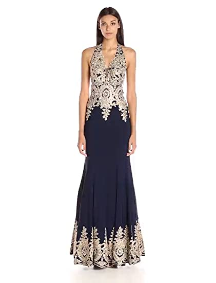 770a6a23903c JVN by Jovani Women's Navy and Gold Fitted Prom Dress at Amazon Women's  Clothing store:
