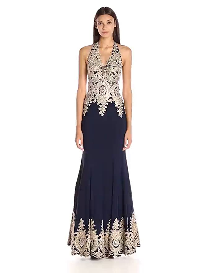 4fea0d120e8 JVN by Jovani Women s Navy and Gold Fitted Prom Dress at Amazon Women s  Clothing store