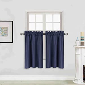 """Better Home Style 100% Blackout 2 Tiers Window Treatment CurtainInsulated Drapes Short Panels for Kitchen Bathroom Basement RV Camper or ANY Small Window M3036 (Navy Blue, 2 Panels 28""""W X 36""""L Each)"""