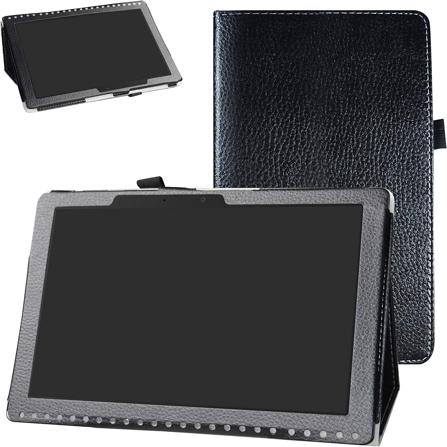 Acer Iconia One 10 B3-A50 Case,Bige PU Leather Folio 2-Folding Stand Cover for Acer Iconia One 10 B3-A50 10.1 inch 2018 Tablet (Not fit Acer A3-A50),Black