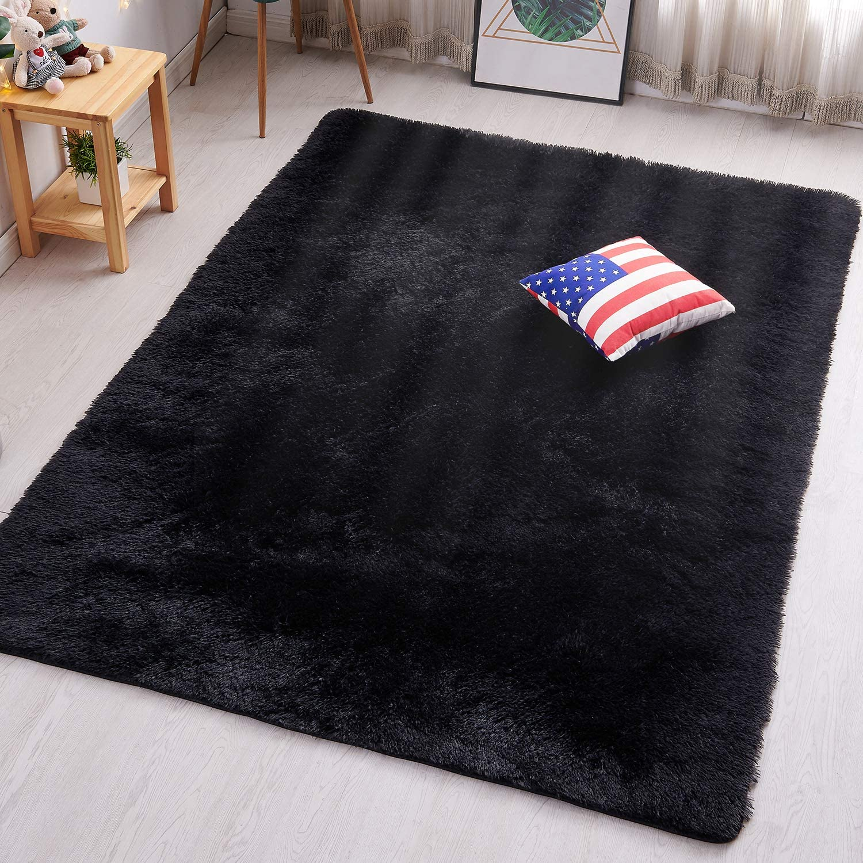 PAGISOFE Black Fluffy Shag Area Rugs for Bedroom 3x5, Soft Fuzzy Shaggy Rugs for Girls Bedroom Kids Room Carpet Furry Throw Dorm Rug