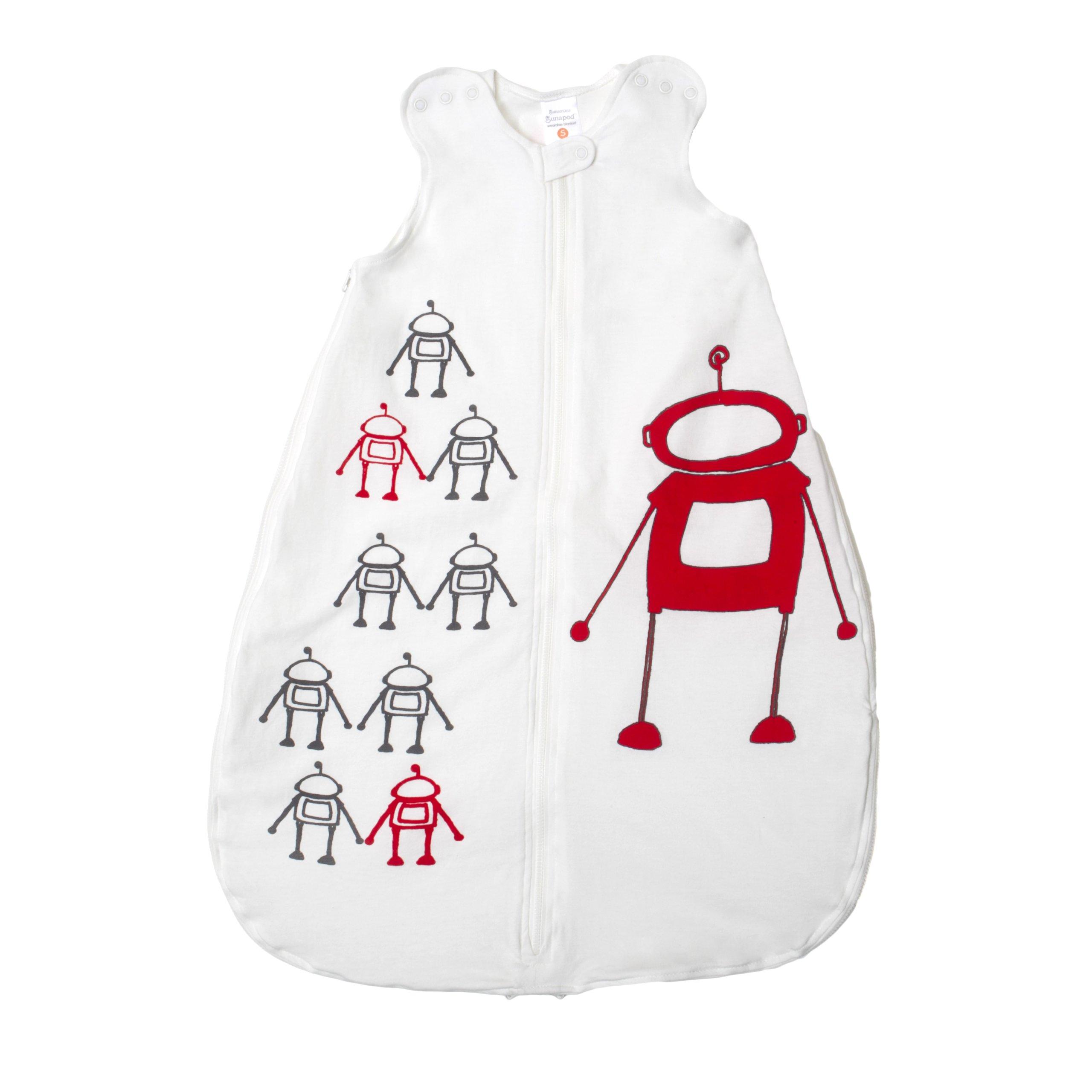 Gunamuna Cotton Dreams Gunapod Wearable Baby Sleepsack, Robot, Small