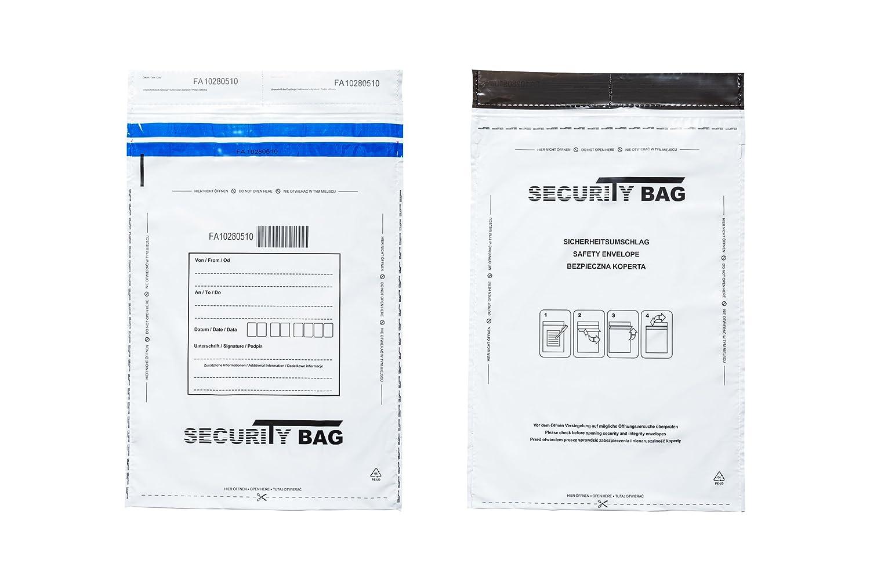Plastica a prova di manomissione, per deposito borse, 100 pezzi M5 155 mm x 260 mm White 100pezzi M5 155 mm x 260 mm White Security Bag