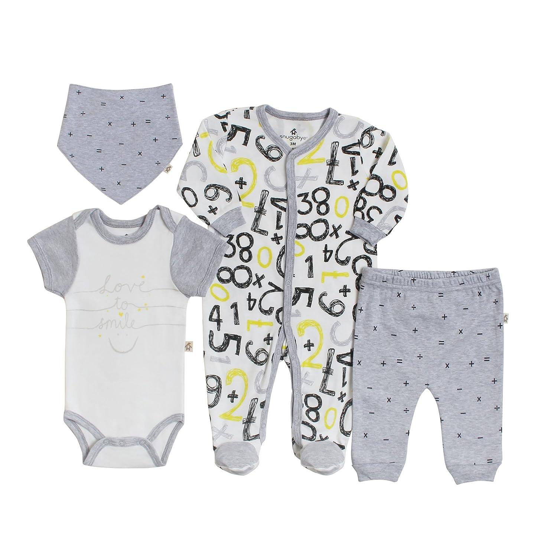 Snugabye Unisex Baby 4-Piece Take-Me-Home Romper Gift Set Neutral Infant Sleeper Hat Bodysuit and Pant, Cotton