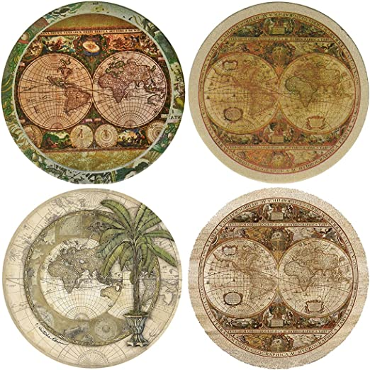 Drinks And Beverages House Absorbent Wine Glasses Vintage Map Ceramic Coaster