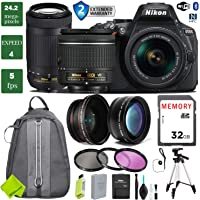 Nikon D5600 DSLR Camera with 18-55 mm VR Lens and 70-300 mm + 0.43 Wide Angle Lens + 2X Telephoto Lens + Set of 3 Piece Filter Kit (UV FLD CPL) + Tripod + Backpack + 2 Year Plan