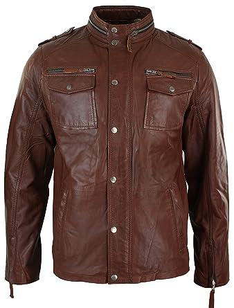 Aviatrix para Hombre marrón marrón Retro Chaqueta de Estilo Motero de Piel Suave Vintage Look Marrón Tan Brown X-Large: Amazon.es: Ropa y accesorios