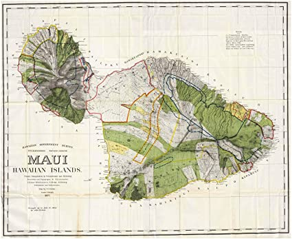 Topographic Map Of Maui.Amazon Com Historic Map Maui Hawaiian Islands Primary