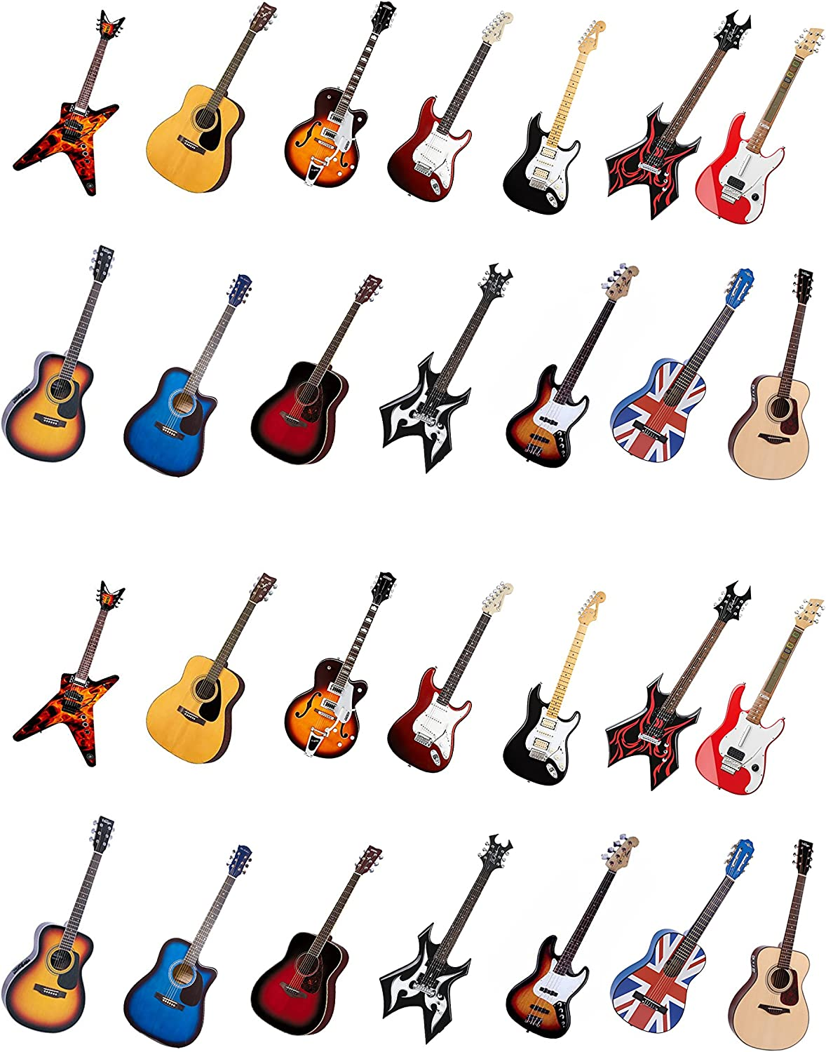 28 Stand Up Acoustic Rock Guitar Themed Edible Wafer Paper Cake Toppers Decorations Küche Haushalt