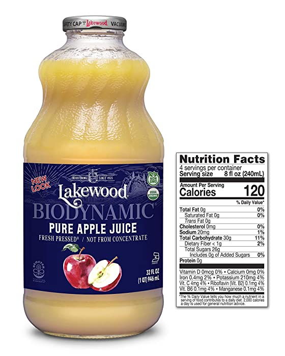 Lakewood Organic Biodynamic Juice, Pure Apple, 32 Ounce (Pack of 6)