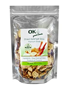 OK Good Foods, Dried Galangal, Sliced   Greater Galangal  Perfect for Tom Yum and Tom Kha Soups 4.50 oz.