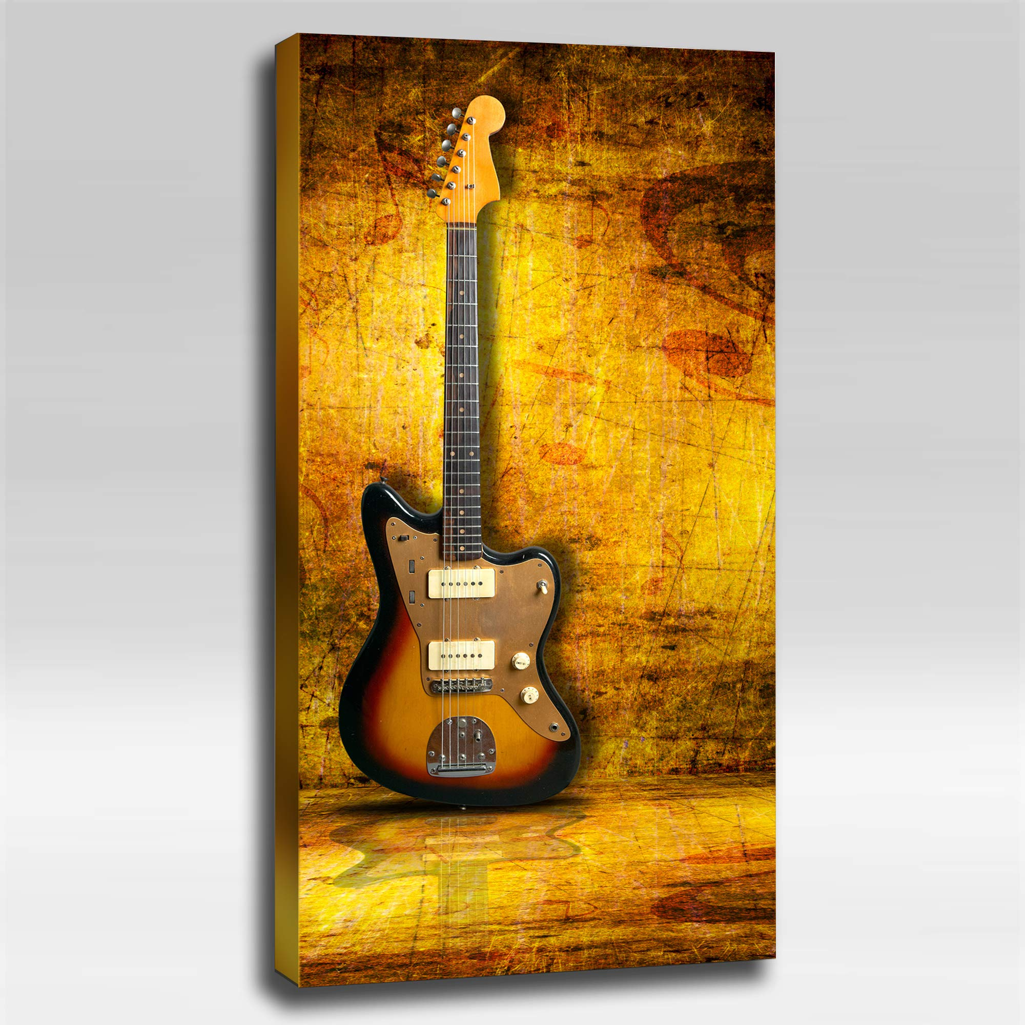 Grunge Gold Guitar - Ready Made 4'x2'x2'' Acoustic Art Panel : Includes all Mounting Hardware.