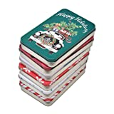 6 Pack Christmas Holiday Gift Card Tin Holders