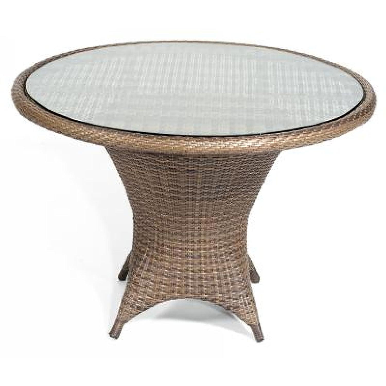 Sonnenpartner Gartentisch Glastisch Bonaire ø 110 cm cappuccino 80080077