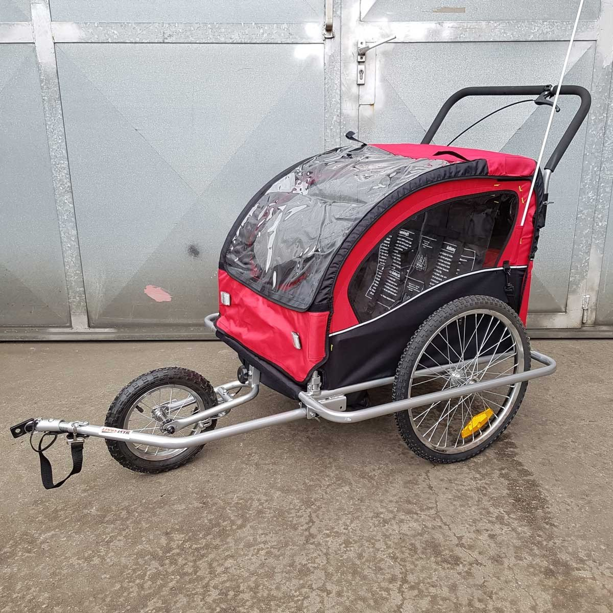 2in1 Fahrradanhänger Jogger Kinderanhänger Kinder Radanhänger rot schwarz
