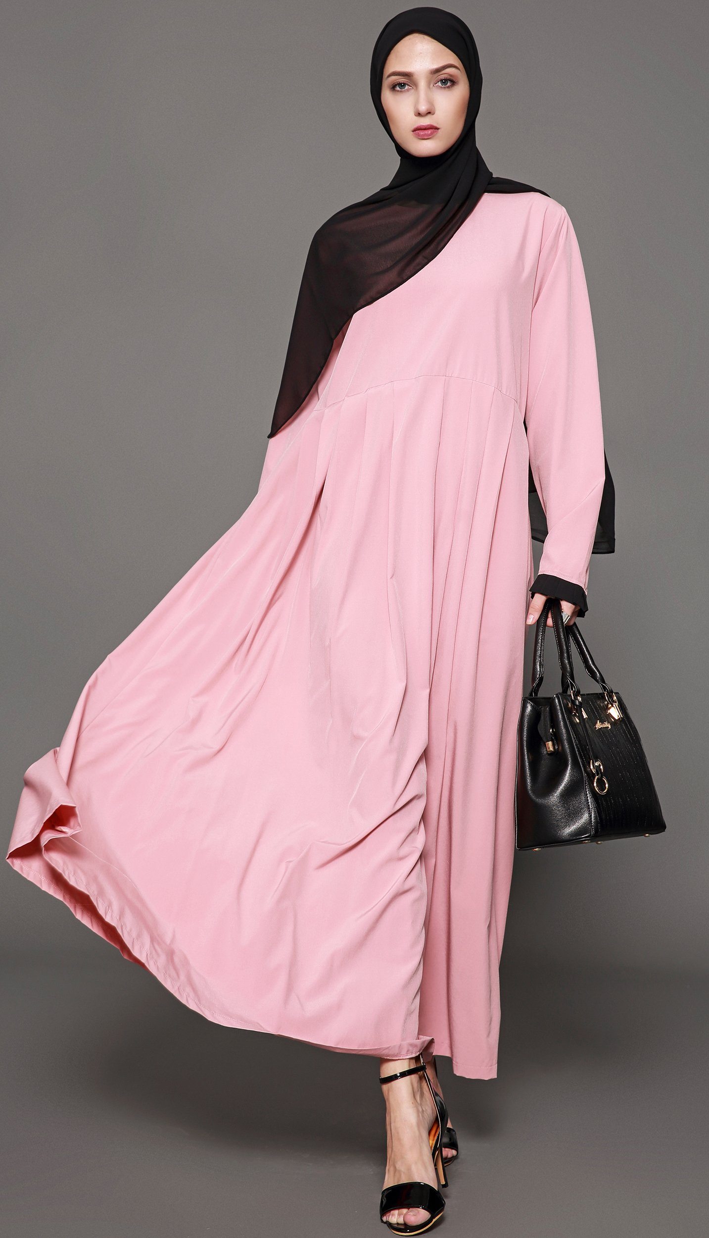 Ababalaya Women's Elegant Modest Muslim Full Length O-Neck Solid Pleated Runway Abaya S-4XL,Pink,Tag Size L = US Size 10-12 by Ababalaya (Image #4)