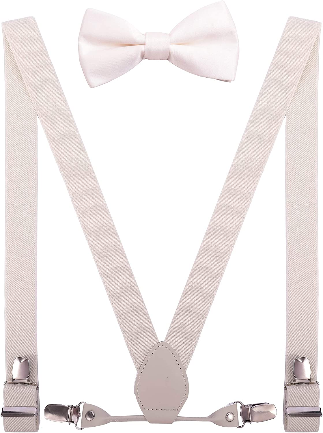 YJDS Boys Mens Suspenders and Bow Tie Set Strong Clips with White Leather
