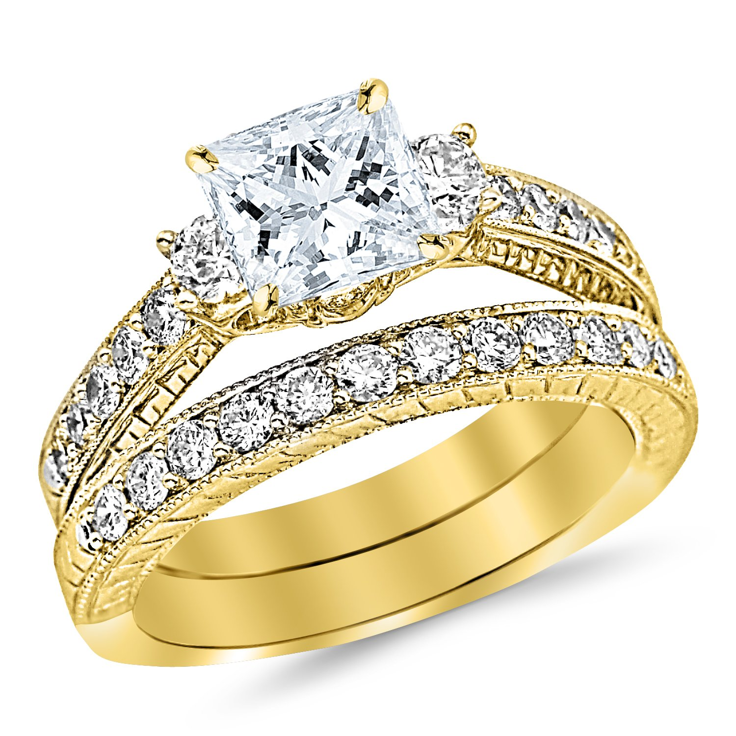Yellow Gold Classic Channel Set Wedding Set Bridal Band & Diamond Engagement Ring with a 0.5 Carat GIA Certified Princess Cut E Color VS1 Clarity Center Stone