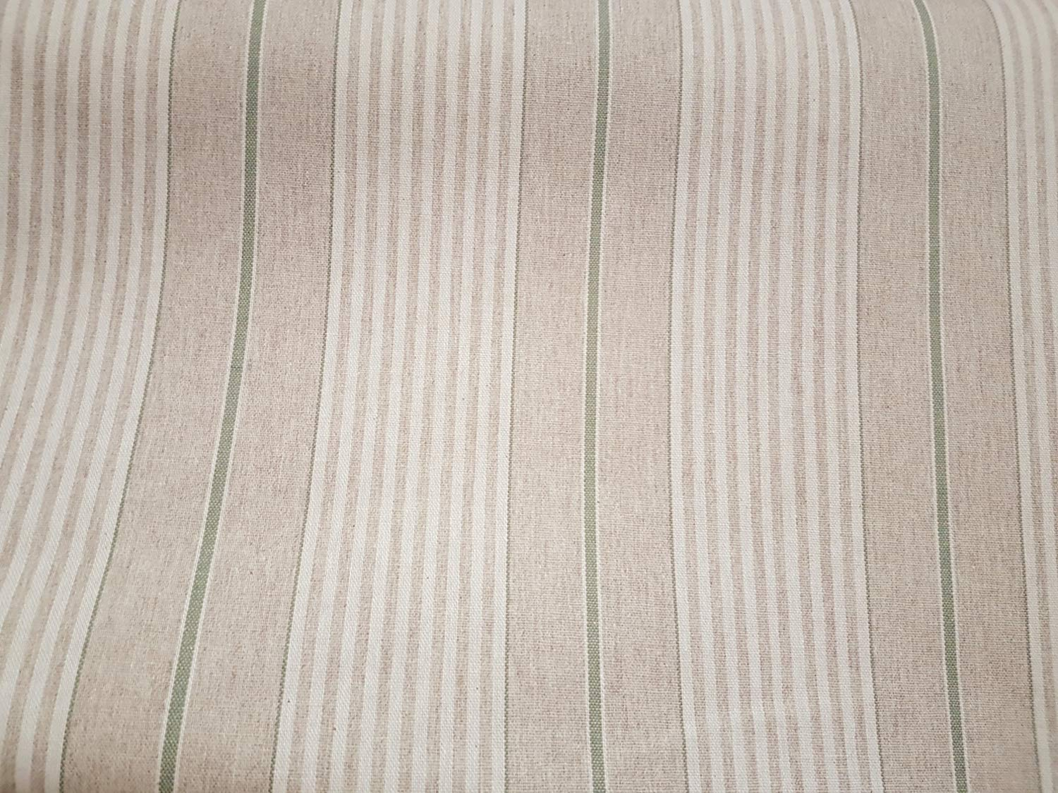 Wipe Clean Latte Beige White Mint Polycotton Table Cloth Acrylic Coated Tablecloth Harbour Stripe Green 3 Metres 300cm x 140cm Linen Look Stripes Lines French Ticking Effect
