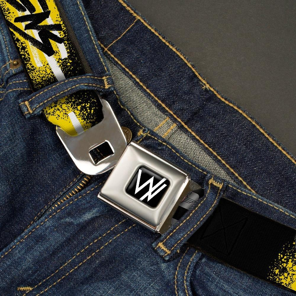 Buckle-Down Seatbelt Belt 1.0 Wide SLEEPING WITH SIRENS//Paint Black//Yellow//White//Black 20-36 Inches in Length