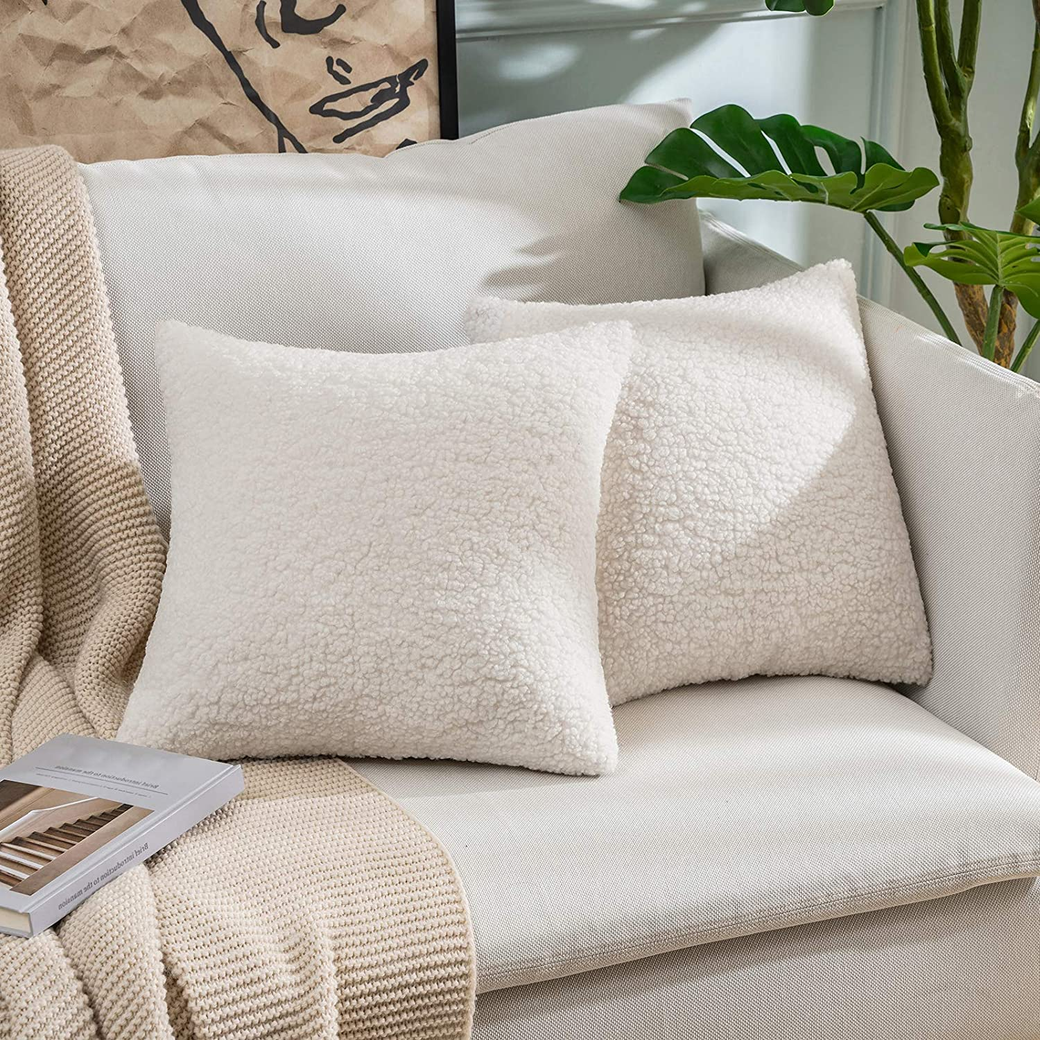 miulee pack of 2 decorative new luxury series style cream white faux fur throw pillow covers super soft wool pillow cases cushion covers for sofa