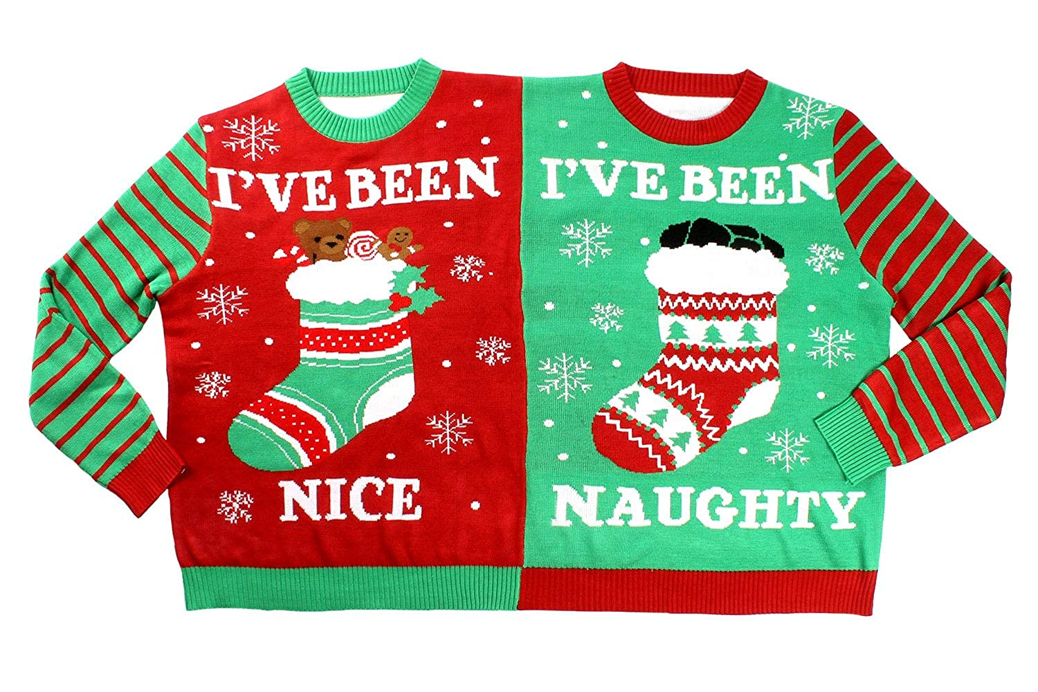 Conjoined Twin Couples Christmas Sweater Green Tipsy Elves Mens and Womens Two Person Ugly Christmas Sweater