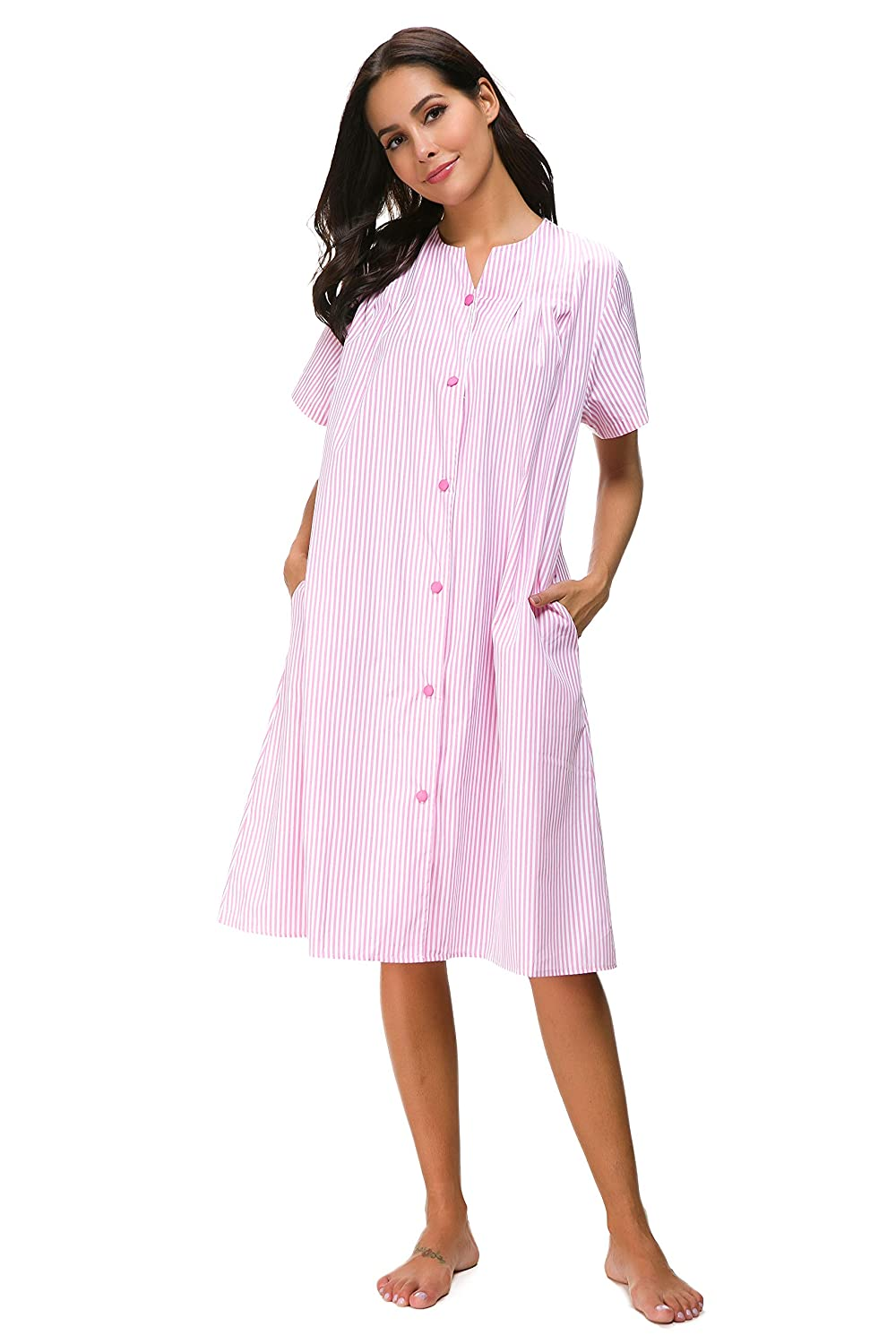 M-anxiu Sleepwear Womens Stripe Nightgown Button Down Duster Short Sleeve  House Dress S-XXL at Amazon Women s Clothing store  6250211d0