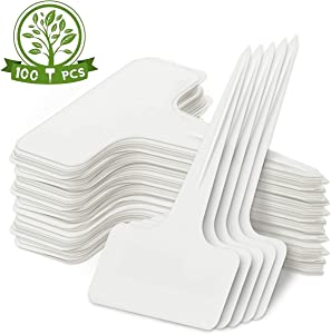 Hoople 100 Pcs 3.9 Inch Plastic Plant Labels Garden Marker Nursery Tags T-Type Stake Notes Strip White (1.2x2.3x3.9 in)