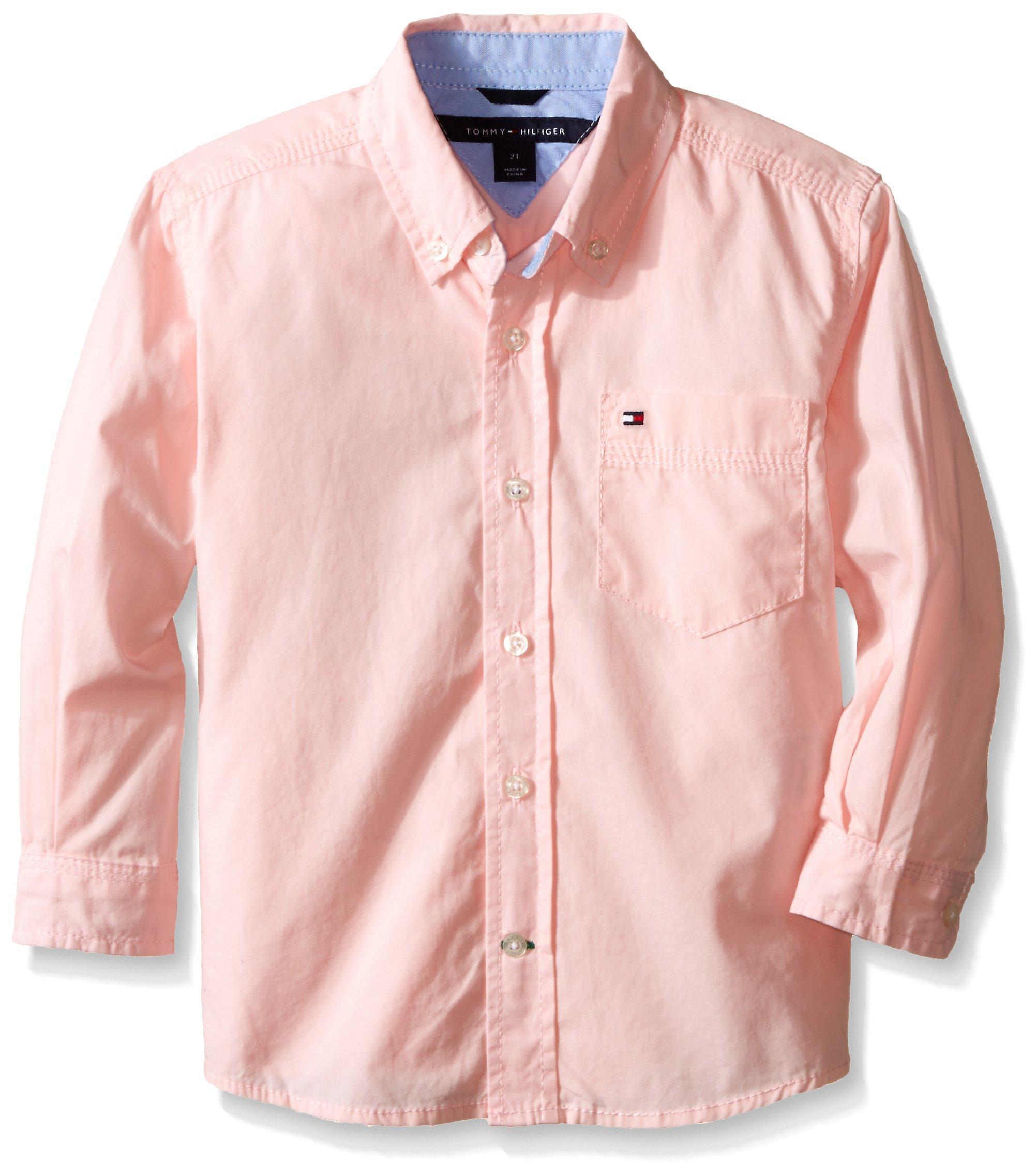 Tommy Hilfiger Little Boys' Long Sleeve Classic Woven, Pink Lemonade, 5 Regular