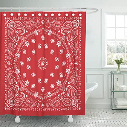 Amazon Emvency Shower Curtain Western Bandana Design In Red And