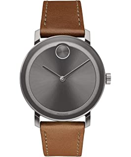 f74c683dc Movado Men's BOLD Evolution Gunmetal Watch with a Flat Dot Sunray Dial,  Grey/Brown
