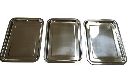 Juego de 3 bandejas de acero inoxidable/VMG placa – Tamaño a Elegir) 32