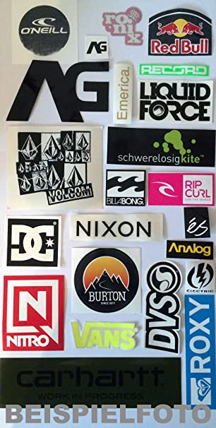 Sticker Set Skate Snow Surf Und Wake Labels Brand Und Marken