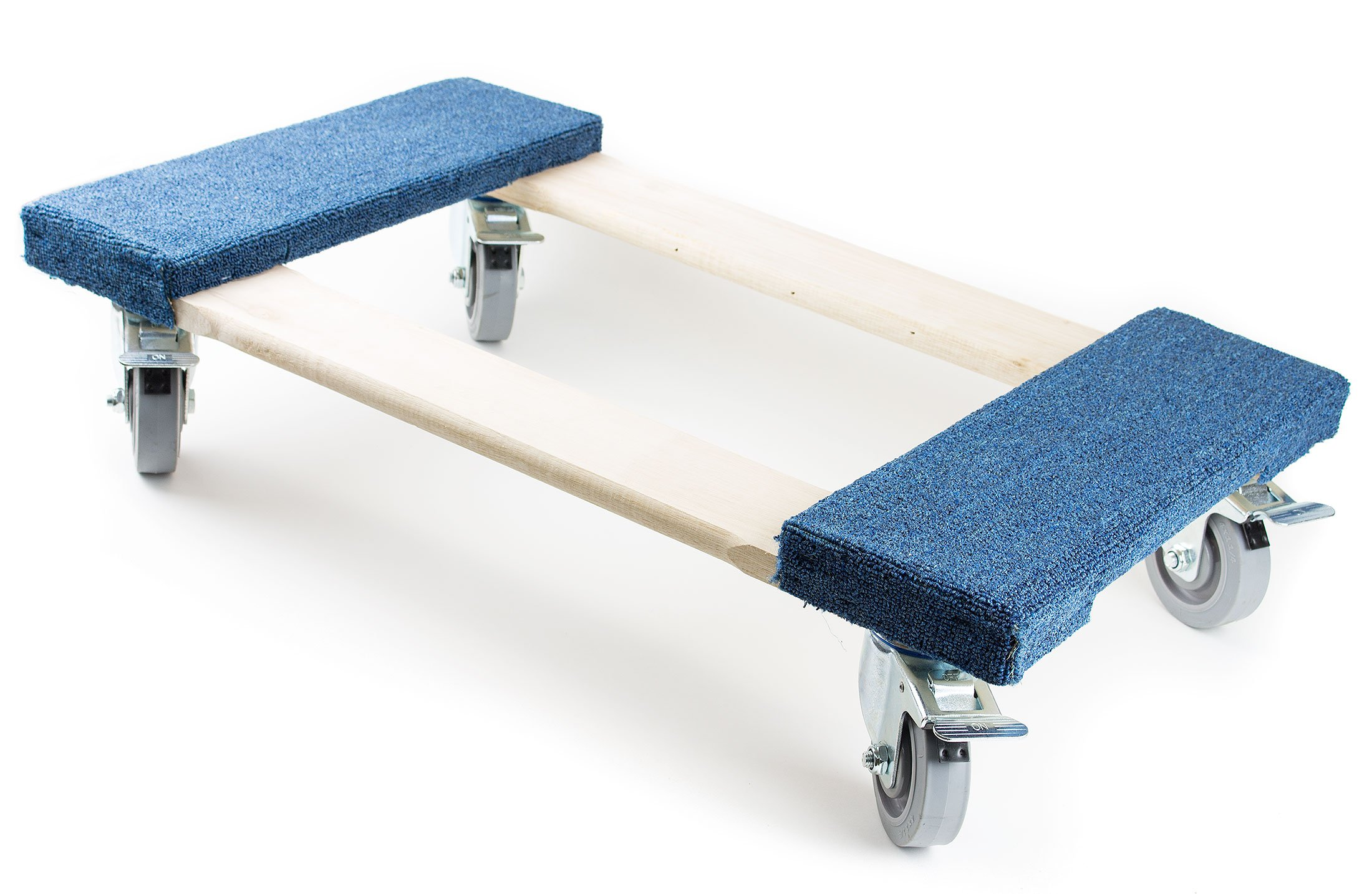 NK Furniture Movers Dolly, Soft Gray Non-marking TPR Wheels, 30'' Length x 17'' Width (5'' TPR Wheels with Brakes, Blue)