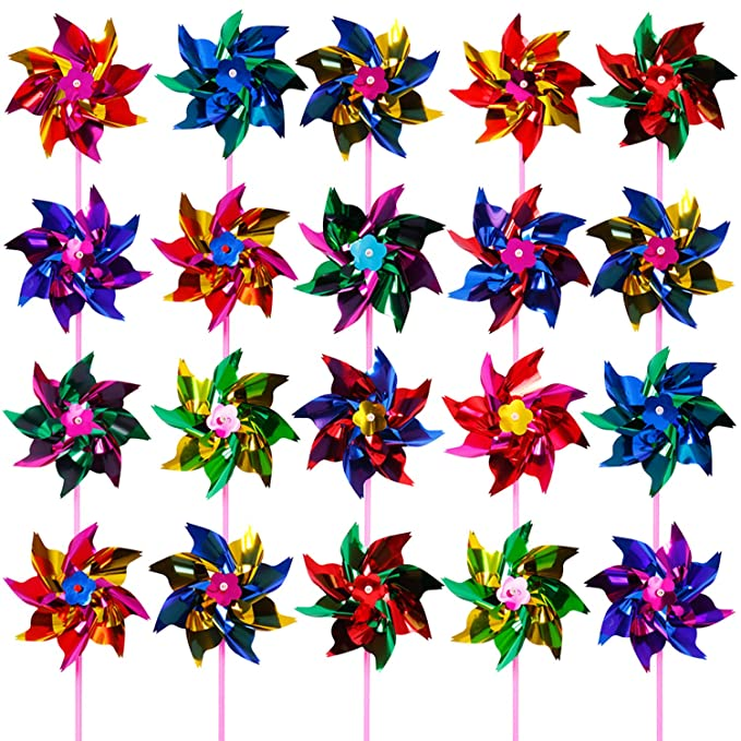 Elcoho100 Pieces Plastic Rainbow Windmill Party Pinwheels DIY Pinwheel for Kids Toy Garden Party Lawn Decor, Assorted Color