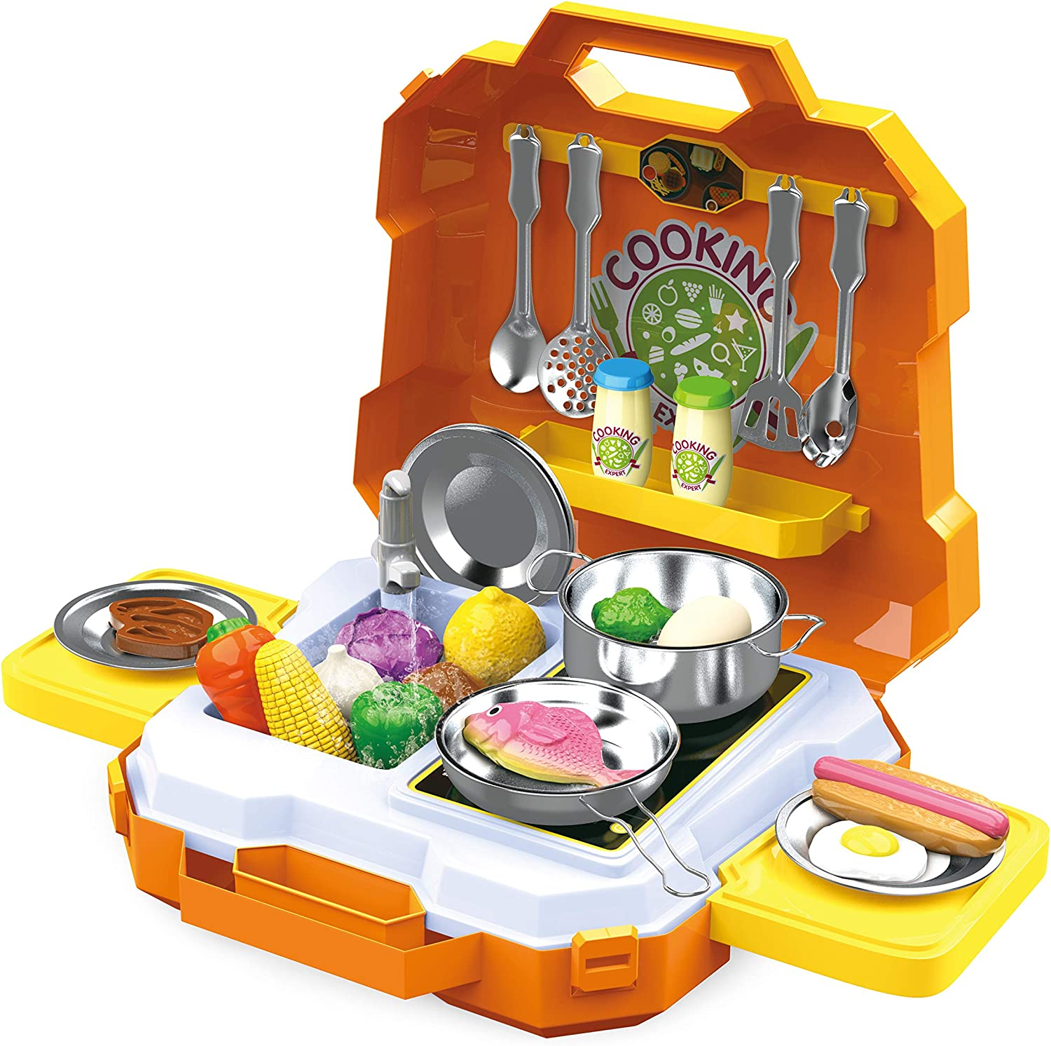 JOYIN 35 Pieces Kids Pretend Play Kitchen Toy Kit with Cookware Utensil Toys, Play Food, Pots and Pans for Kids, School Classroom Rewards and Chef Role Play