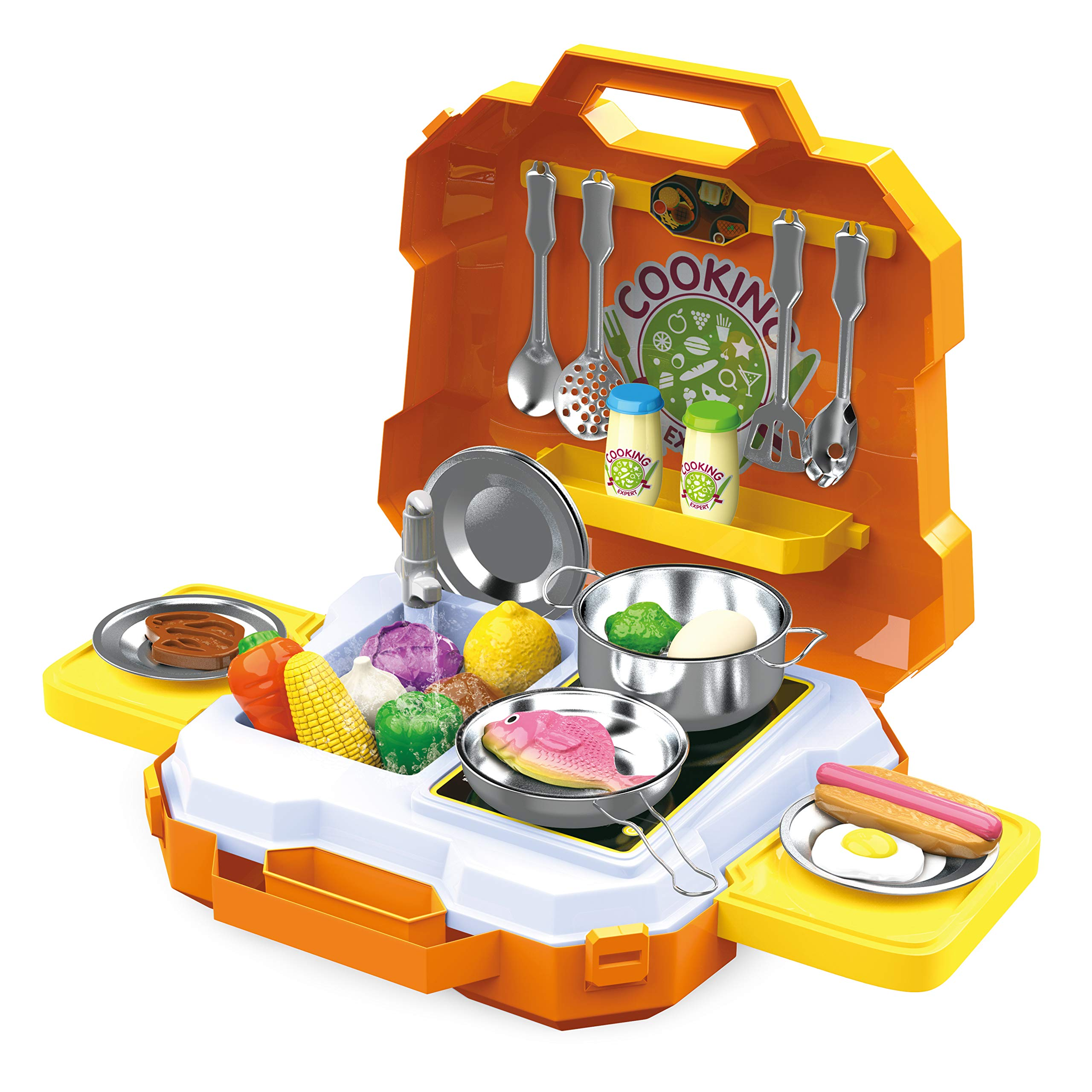 JOYIN 35 Pieces Kids Pretend Play Kitchen Toy Kit with Cookware Utensil Toys, Play Food, Pots and Pans for Kids, School Classroom Rewards and Chef Role Play by JOYIN