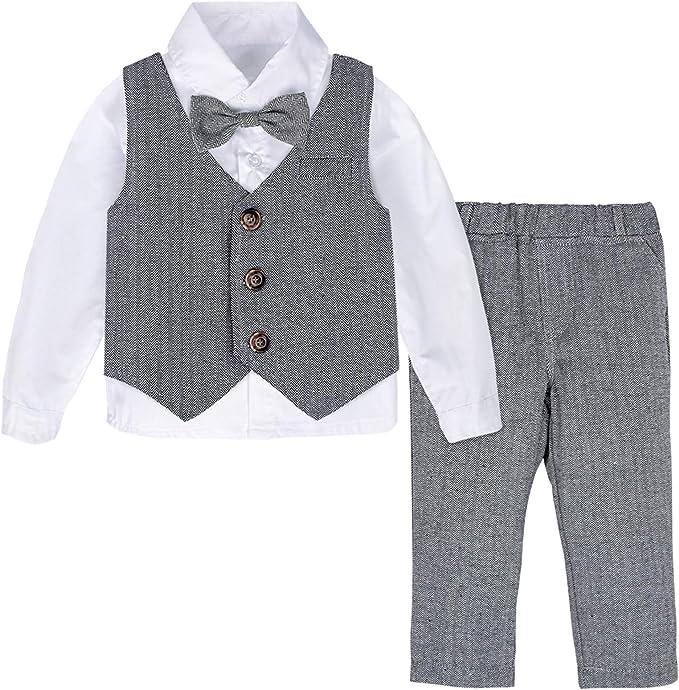 Gr/ö/ße Kurzes Shirt mit Fliege Weste Hosen 3er Set mintgreen Baby Junge Outfits Gentleman Passen 1-5 Jahre