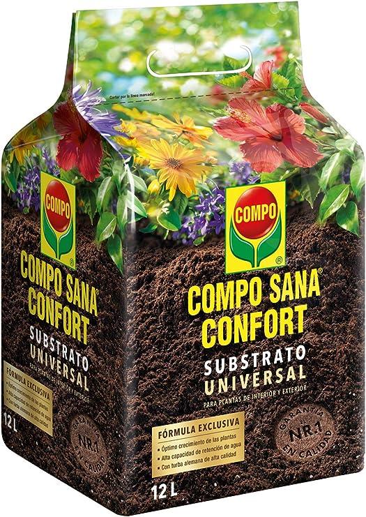 Compo Sana Confort Universal Calidad para macetas con 12 semanas de abono para Plantas de Interior, terraza y jardín, Substrato de Cultivo, 12 L: Amazon.es: Jardín