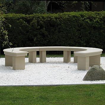 Grand banc de jardin moderne Grand Banc incurvé en pierre ...
