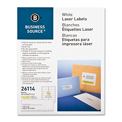 amazon com business source white laser mailing labels pack of