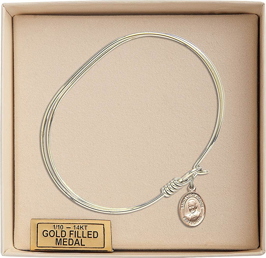 St Luigi Orione Charm On A 7 Inch Oval Eye Hook Bangle Bracelet
