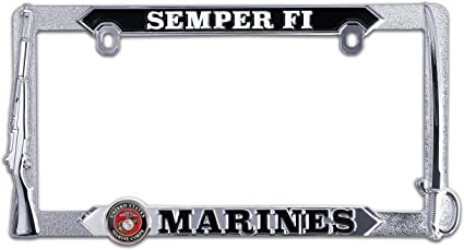 I JUST A GIRL IN LOVE WITH MARINE METAL MILITARY License Plate Frame Tag Holder