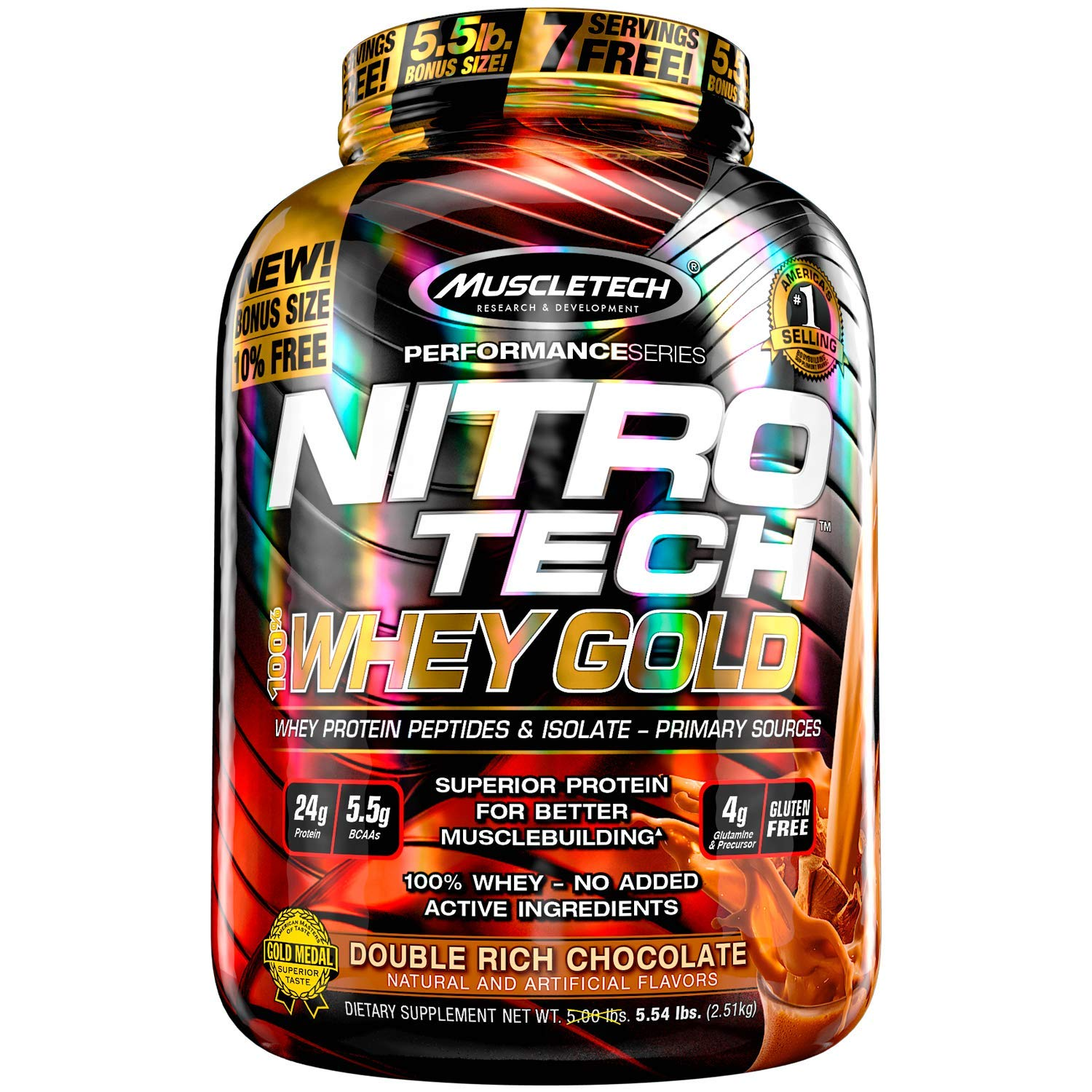 MuscleTech NitroTech Whey Gold, 100% Whey Protein Powder, Whey Isolate and Whey Peptides, Double Rich Chocolate, 5.5 lb by MuscleTech