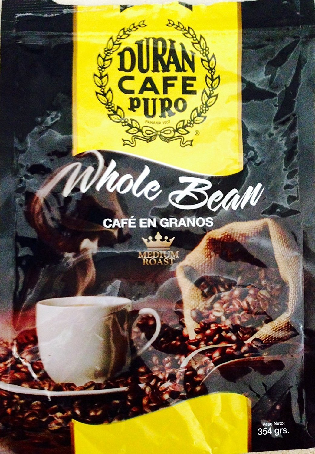 Café Duran Best Panama Whole Roasted Coffee Beans 360gr (12.7oz) Freshly Imported from