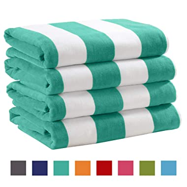 Great Bay Home 4 Pack Plush Velour 100% Cotton Beach Towels. Cabana Stripe Pool Towels for Adults. (Teal, 4 Pack- 30  x 60 )