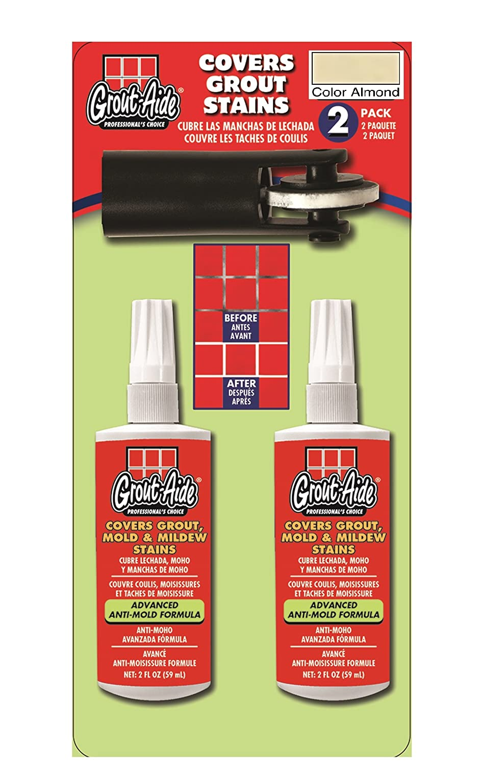 Grout Aide 15803 with Wheel Applicator 2 Pack 2x 2 fl oz Almond
