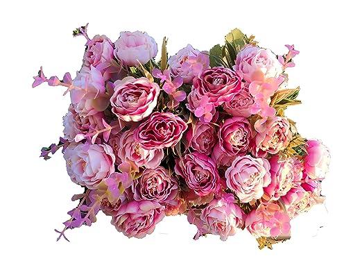 120 Roses Decoración Jarrones Flores Artificiales Decorativas Bodas Eventos Plantas Artificiales Decorar El Hogar Tienda Oficina Jardín Cocina Terraza